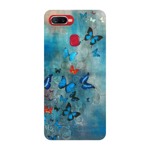 Blue Butterfly Oppo F9 Back Cover-Hamee India