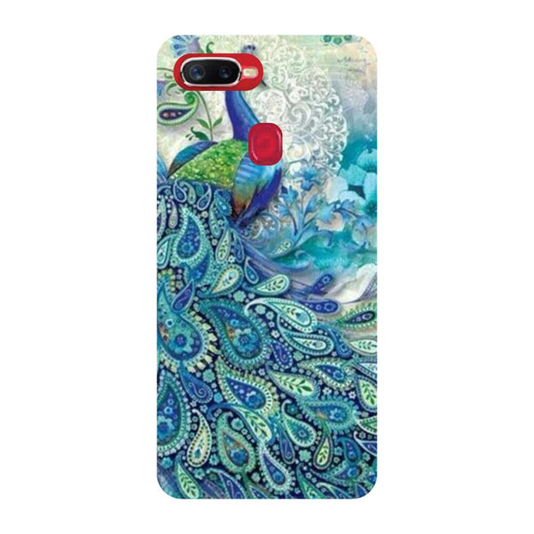 Blue Peacock Oppo F9 Back Cover-Hamee India