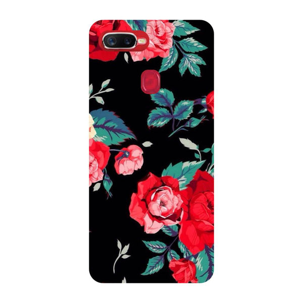 Black Bloom Oppo F9 Back Cover-Hamee India