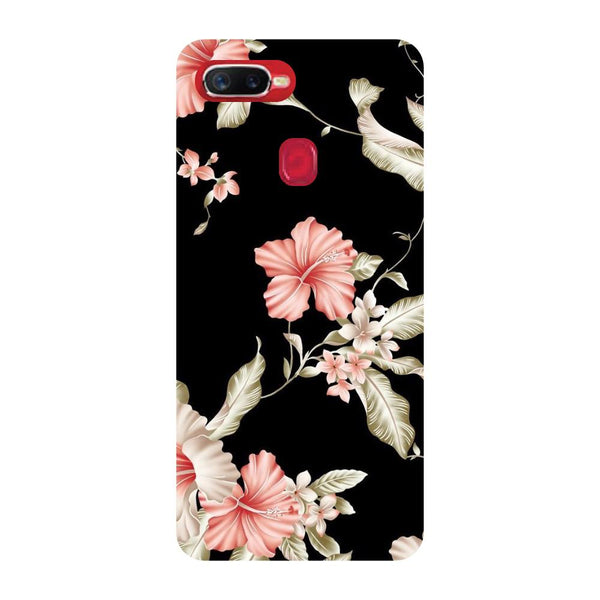Black Floral Oppo F9 Back Cover-Hamee India