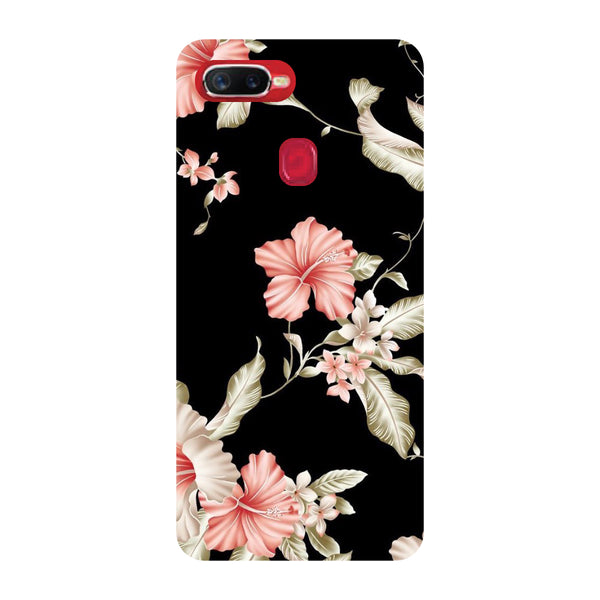 Black Floral Oppo F9 Pro Back Cover-Hamee India