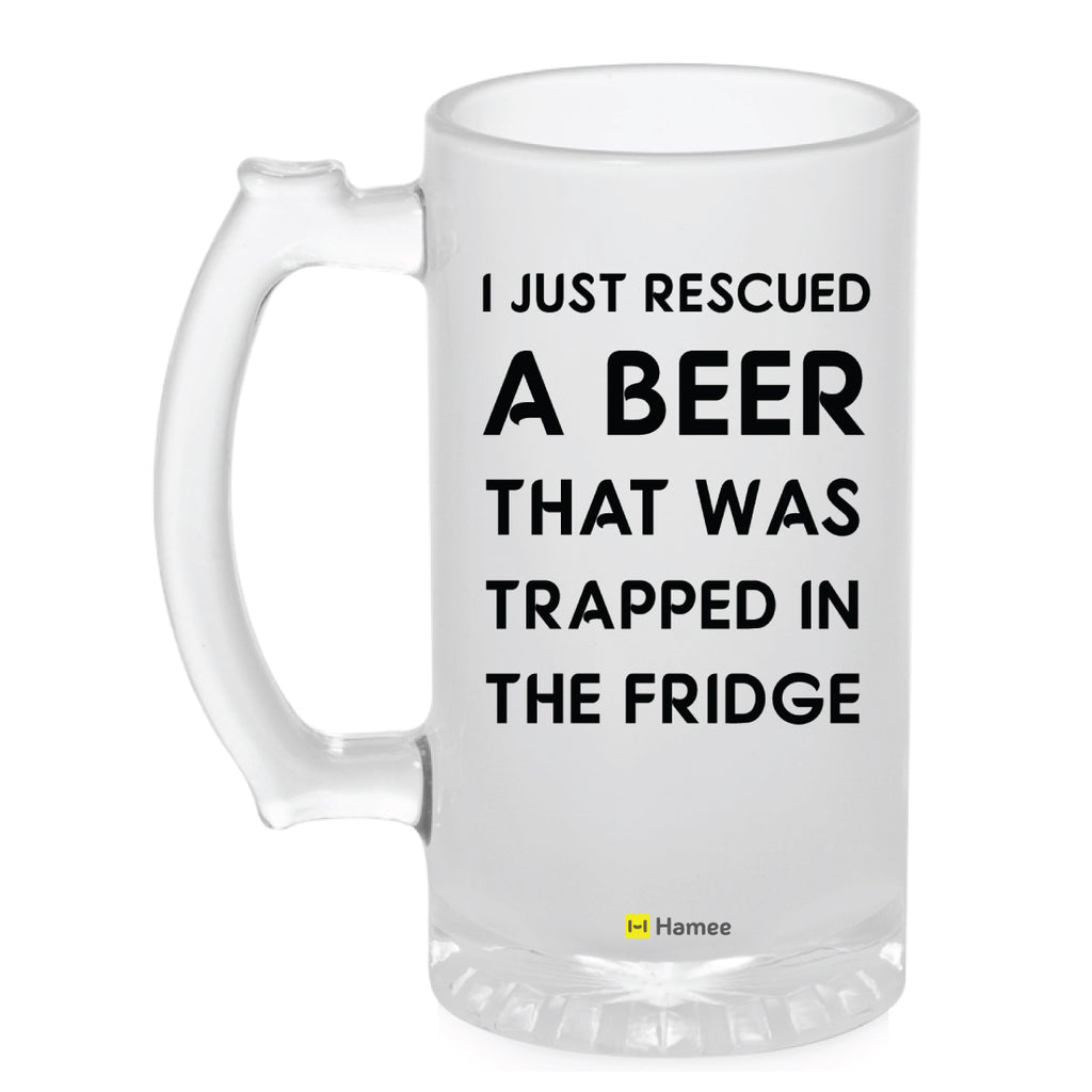Frosted Glass Beer Mug- Rescued a Beer-Hamee India