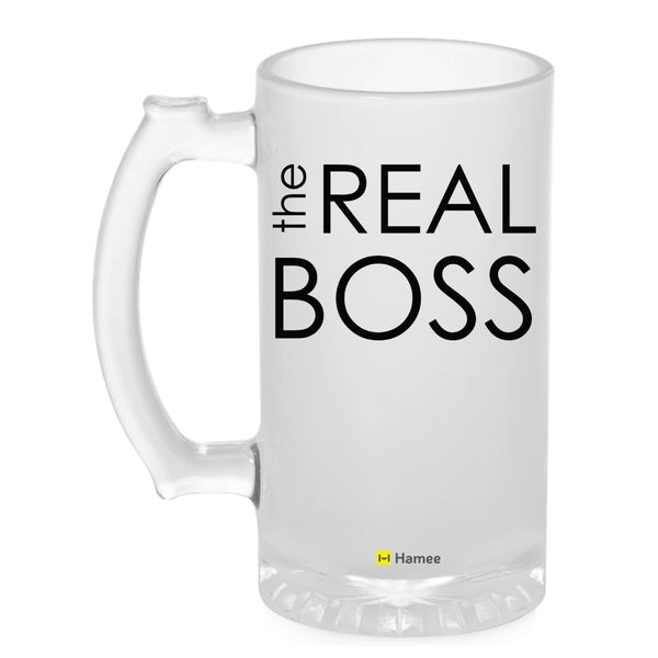 Frosted Glass Beer Mug- The Real Boss-Hamee India