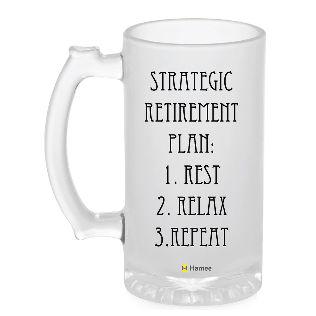 Frosted Glass Beer Mug- Retirement Plan-Hamee India