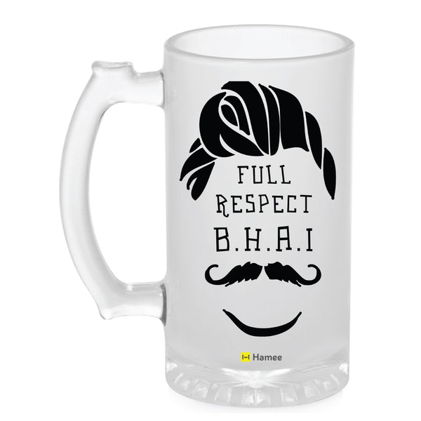 Frosted Glass Beer Mug- Respect Bhai-Hamee India