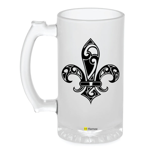 Frosted Glass Beer Mug- Abstract Flower-Hamee India