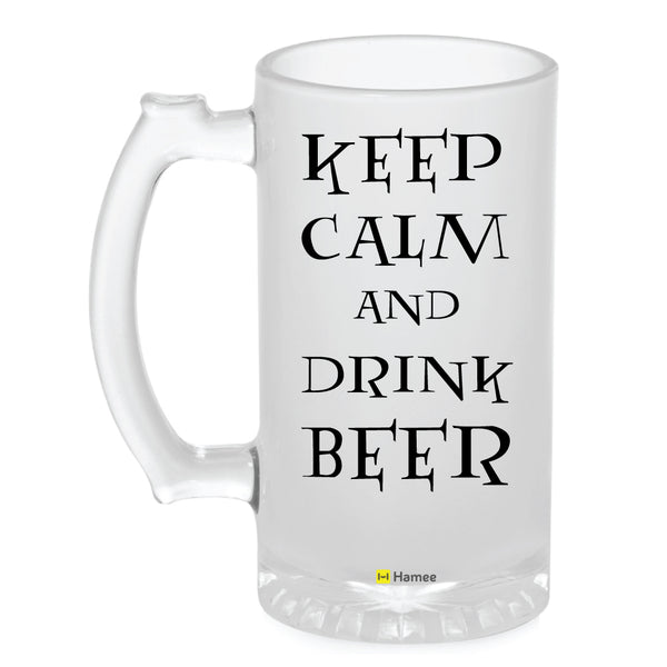 Frosted Glass Beer Mug- Keep Calm-Hamee India