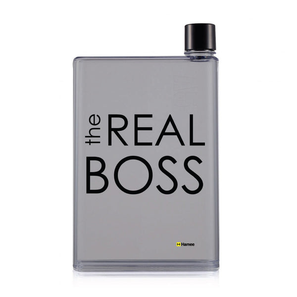 Hamee - The real Boss - Notebook Style Portable Transparent Black Shade Memo Water Bottle (420 ml)