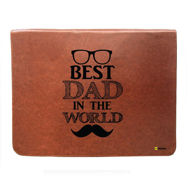 Best dad in the World - Tan Brown Leather 15 inch Laptop Sleeve-Hamee India
