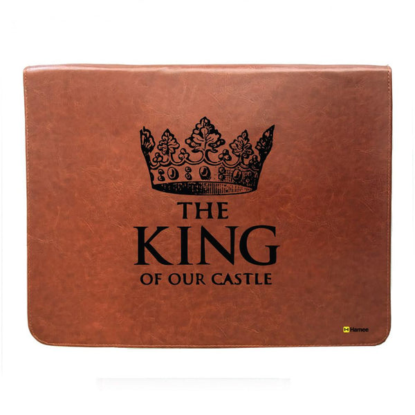 King of our castle - Tan Brown Leather 15 inch Laptop Sleeve-Hamee India