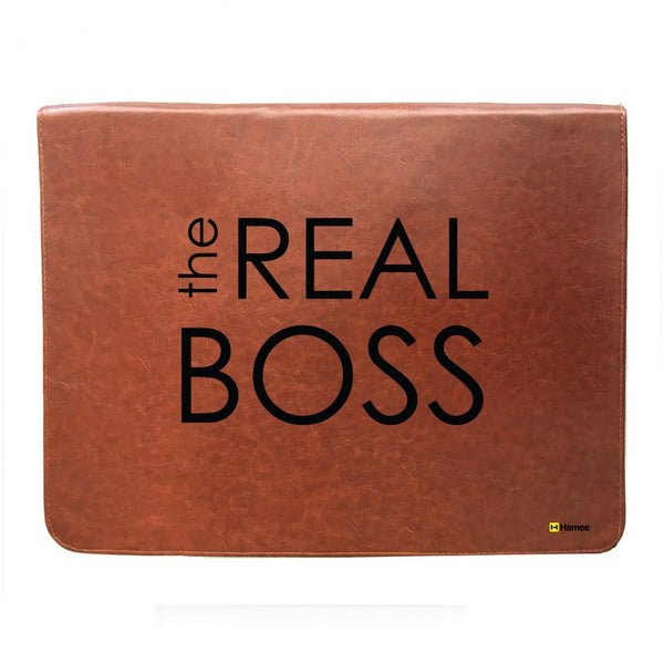 The real Boss - Tan Brown Leather 15 inch Laptop Sleeve-Hamee India