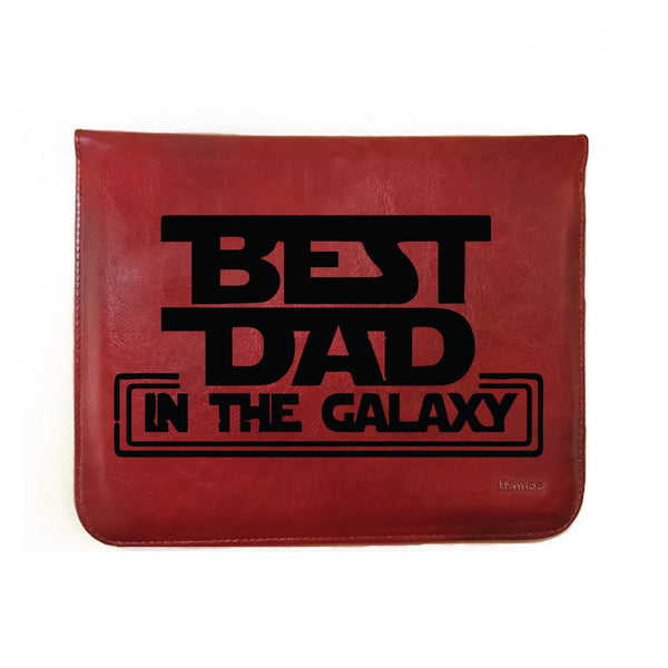"Best Dad in Galaxy - Tan Brown Leather 8"" Tablet Sleeve-Hamee India"