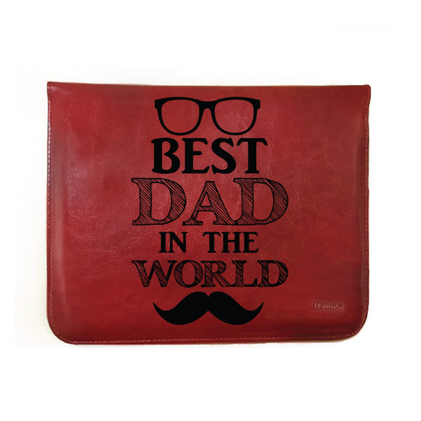 "Best dad in the World - Tan Brown Leather 8"" Tablet Sleeve-Hamee India"