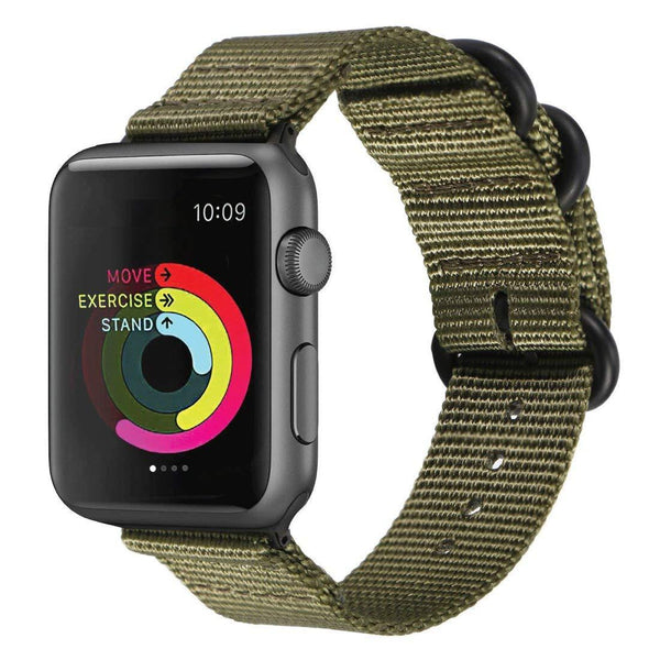 Green Nylon Woven Band Strap - Apple Watch Series 5/4/3 (44mm/42mm)