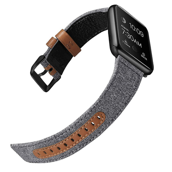 Gray Canvas Leather Band Strap - Apple Watch Series 5/4/3 (44mm/42mm)
