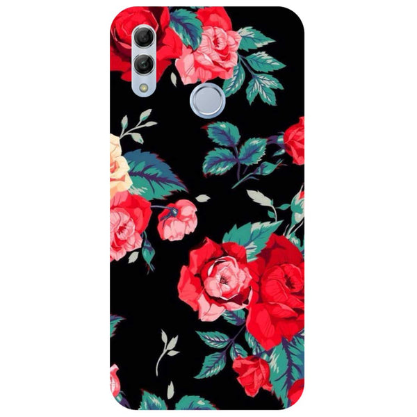 Black Bloom Honor 10 Lite Back Cover-Hamee India