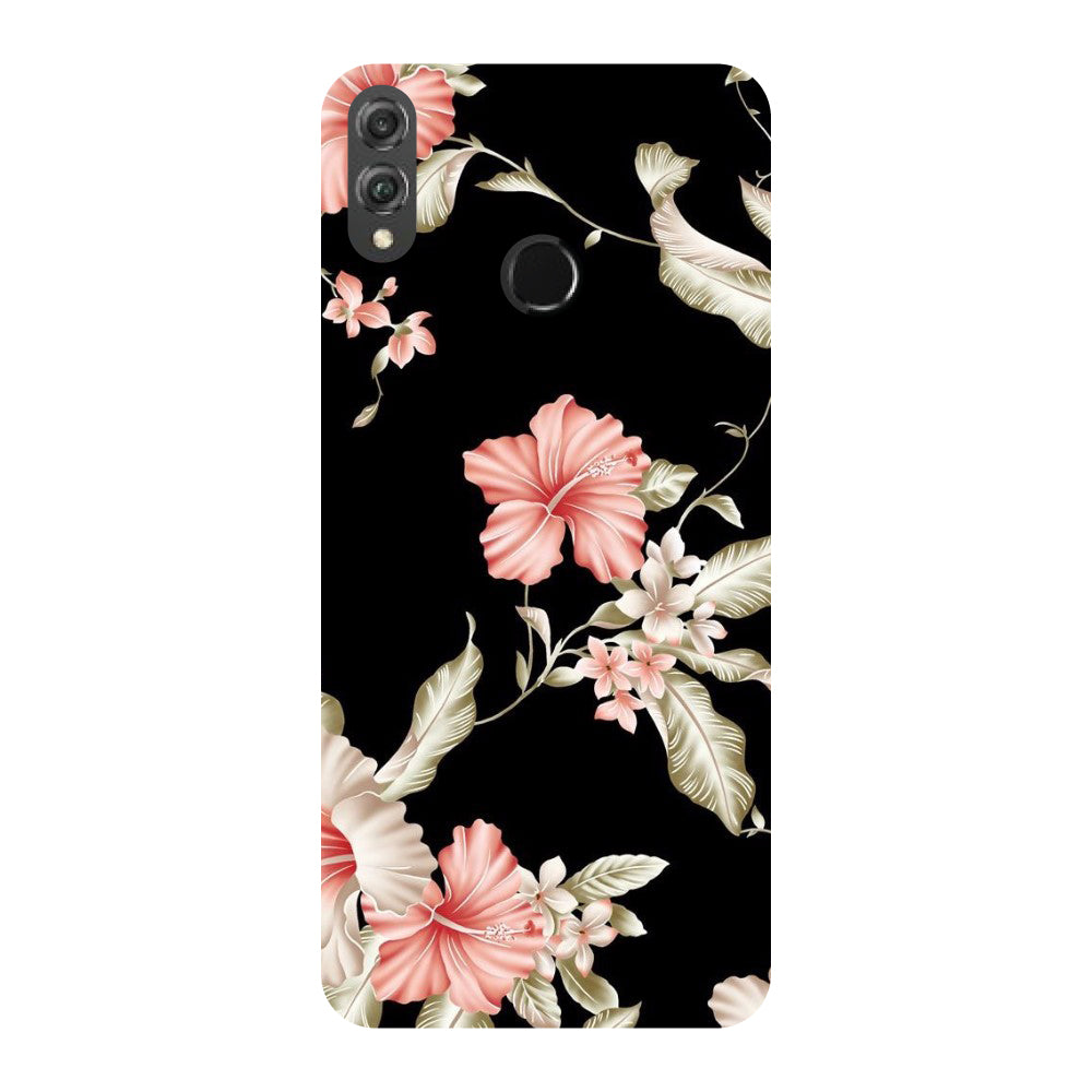 Black Floral Honor 8X Back Cover
