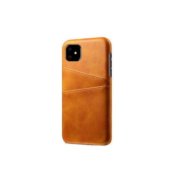 Leather Card Pocket Back Cover for iPhone 11 (Tan Brown)