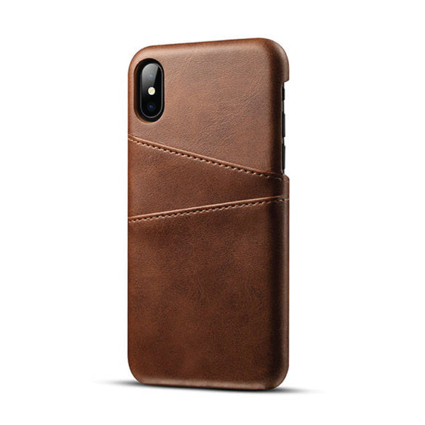 Leather Card Pocket Back Cover for iPhone X (Brown)