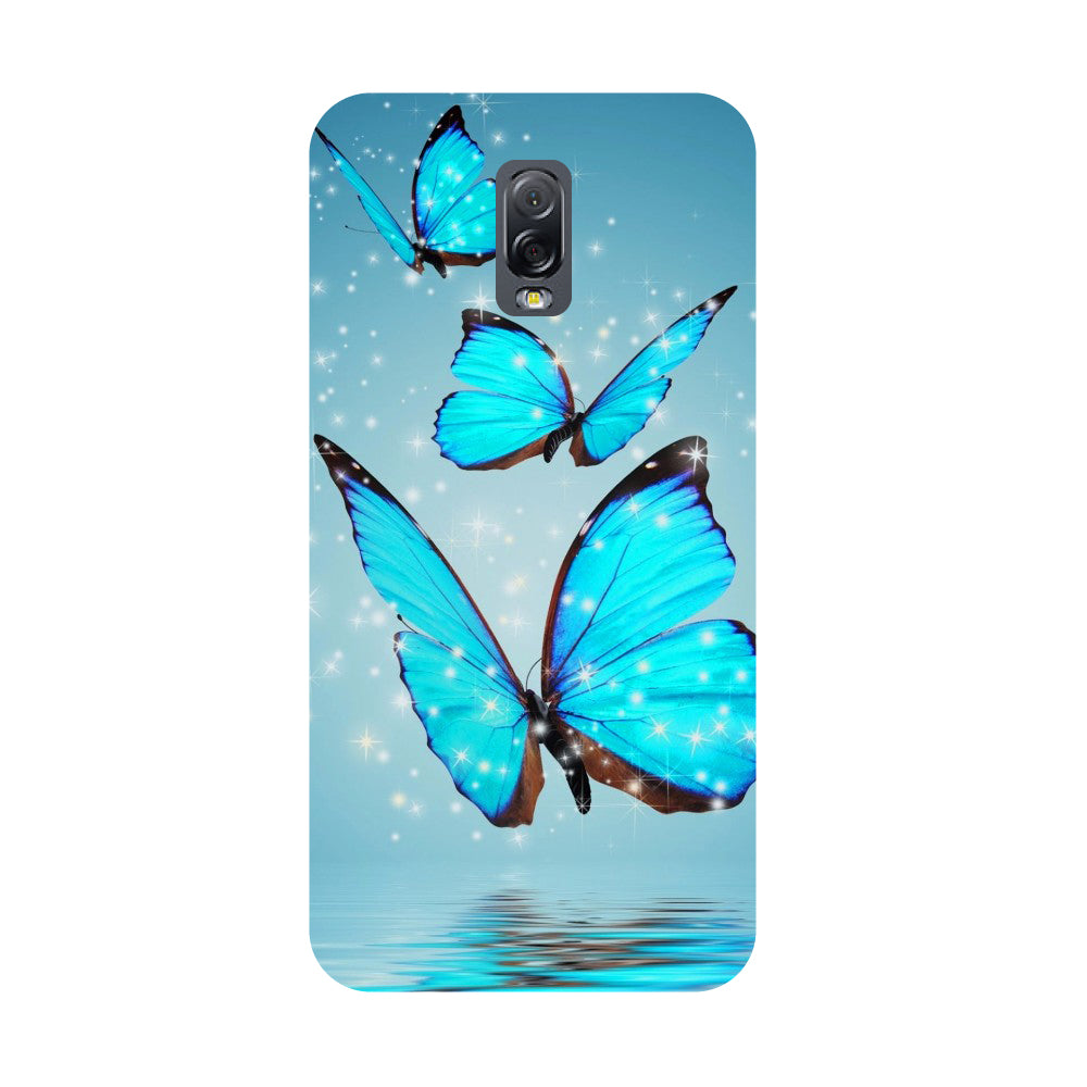 Blue Butterflies- Printed Hard Back Case Cover for Samsung Galaxy J7 Plus