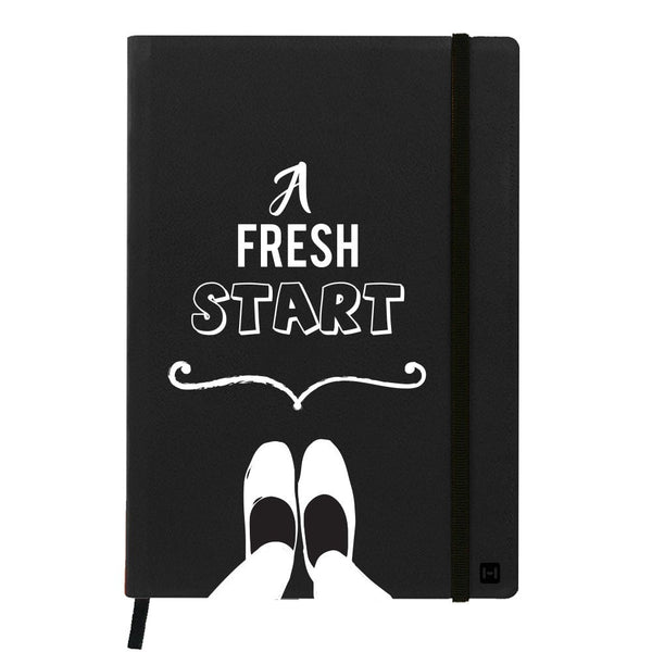 Hamee India - A Fresh Start - Black Leather Notebook