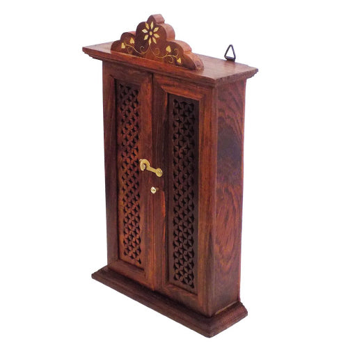 Wooden Wall Hanging Double Door Key Box Holder-Hamee India