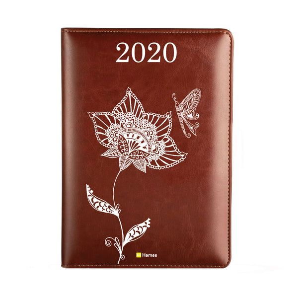 2020 Dark Brown Leather Diary - Ethnic