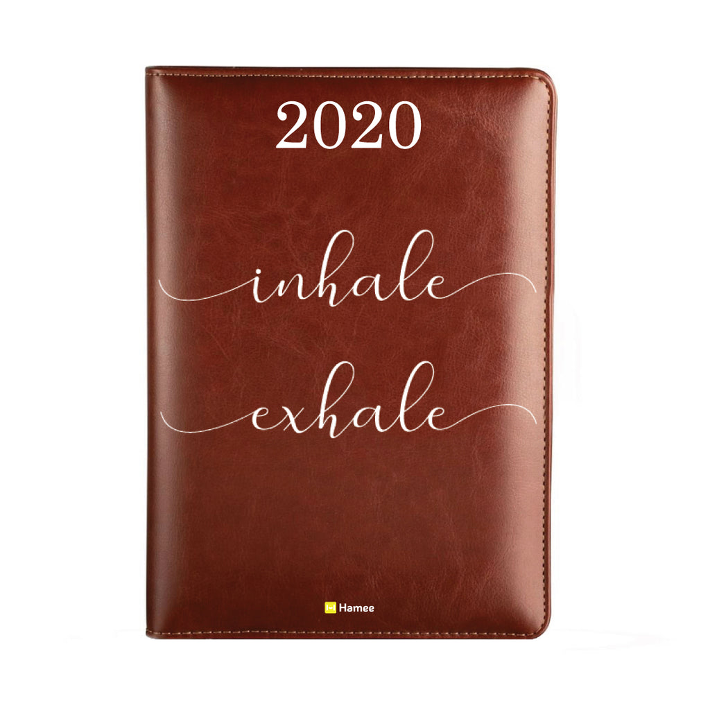 2020 Dark Brown Leather Diary - Inhale