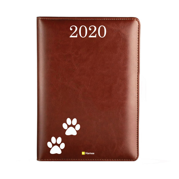 2020 Dark Brown Leather Diary - Paws