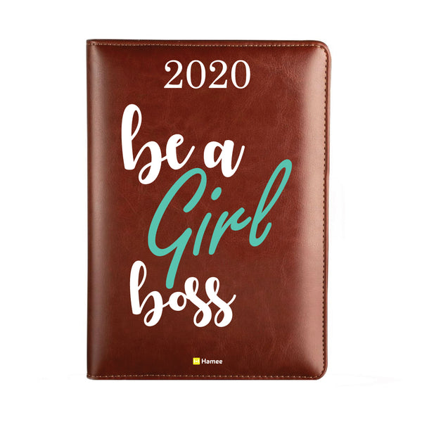 2020 Dark Brown Leather Diary - Be A Girl Boss