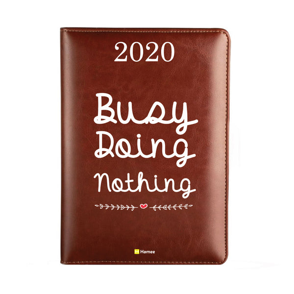 2020 Dark Brown Leather Diary - Busy