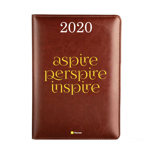 2020 Dark Brown Leather Diary - Aspire