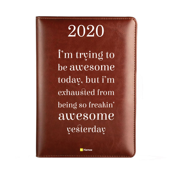 2020 Dark Brown Leather Diary - Awesome