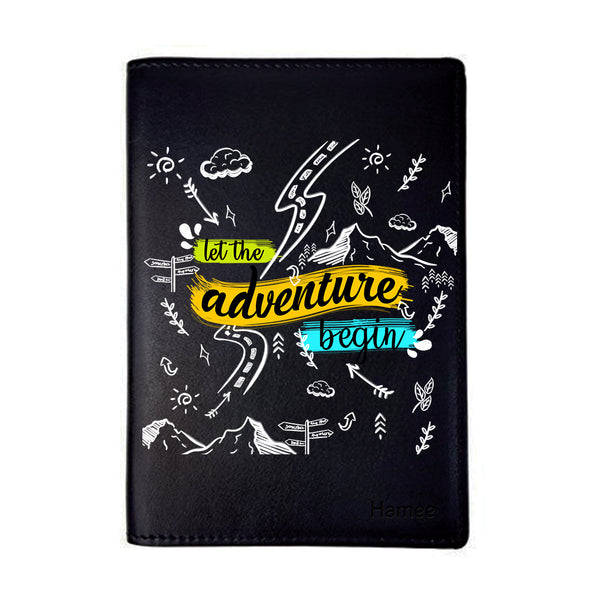 Adventure Doodles Black PU Leather Passport Wallet / Holder-Hamee India