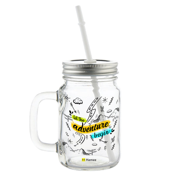 Adventure Doodles Printed Mason Jar with Straw-Hamee India