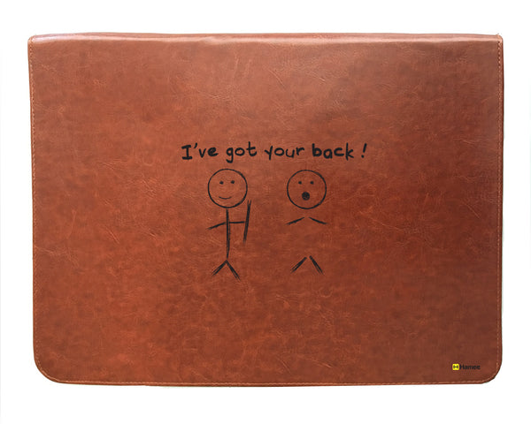 Your Back - Tan Brown Leather 15 inch Laptop Sleeve-Hamee India