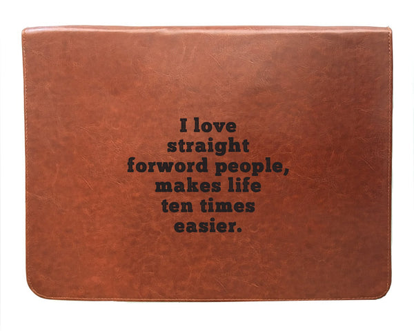 I Love - Tan Brown Leather Document Holder-Hamee India