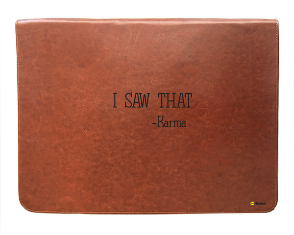 Karma - Tan Brown Leather 15 inch Laptop Sleeve-Hamee India