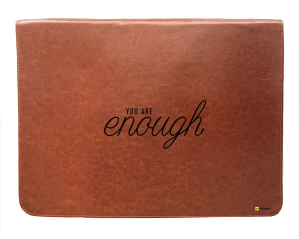 You Are Enough - Tan Brown Leather 15 inch Laptop Sleeve-Hamee India