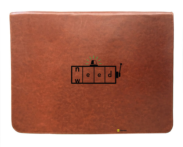 Need Weed - Tan Brown Leather 15 inch Laptop Sleeve-Hamee India