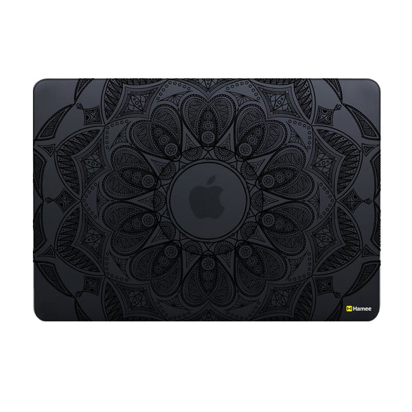 Hamee Original - Black Mandala - Matte Finish Slim Fit Shell Case for Apple Macbook Air 13""