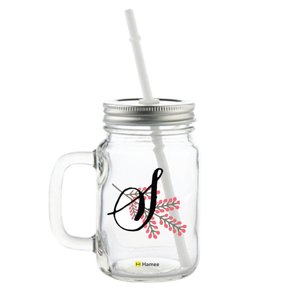S Printed Mason Jar with Straw-Hamee India