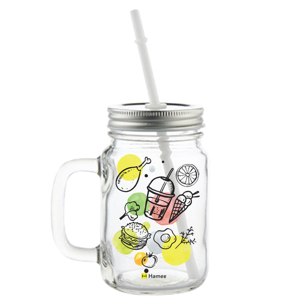 Foodie Printed Mason Jar with Straw-Hamee India
