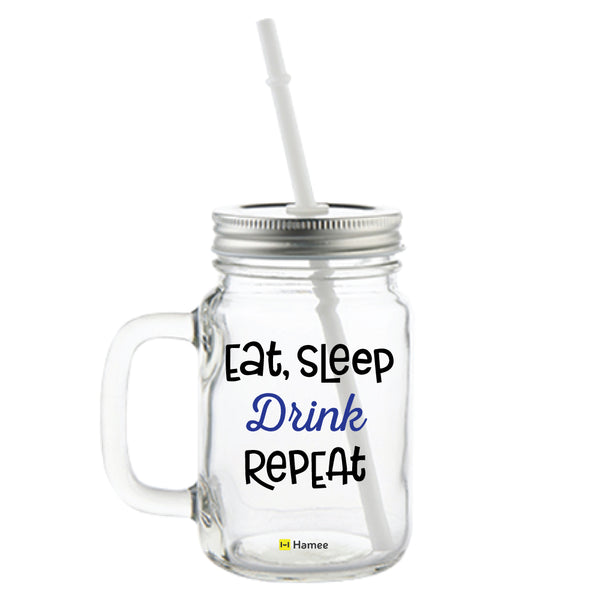 Eat Sleep Printed Mason Jar with Straw-Hamee India