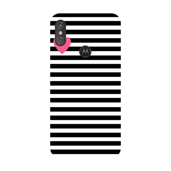 Heart Stripes Motorola One Power Back Cover-Hamee India