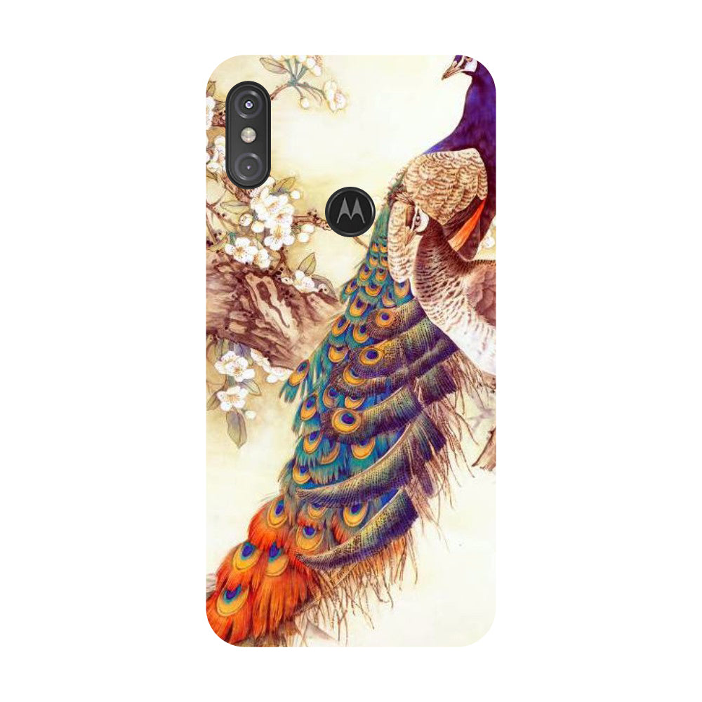 Yellow Peacock Motorola One Power Back Cover-Hamee India