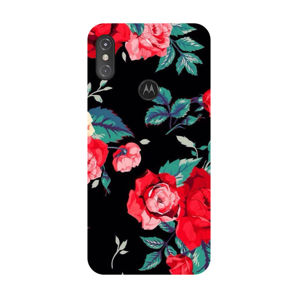 Black Bloom Motorola One Power Back Cover-Hamee India