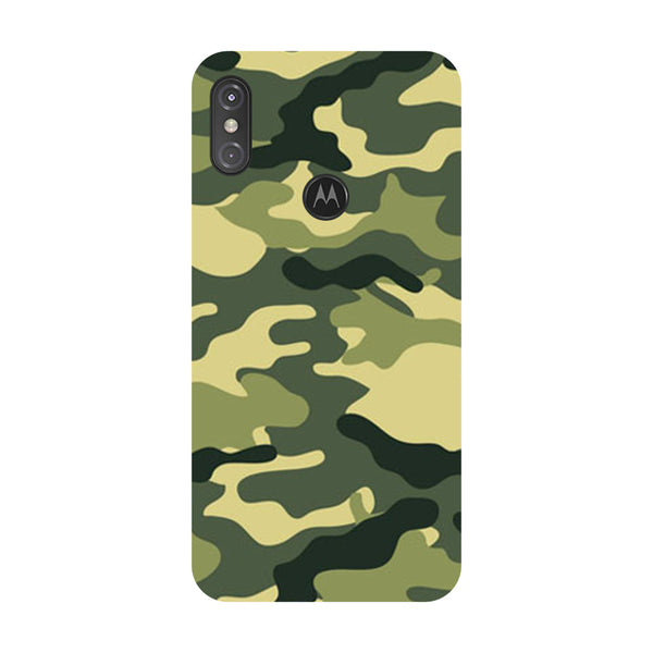 Camouflage Motorola One Power Back Cover-Hamee India