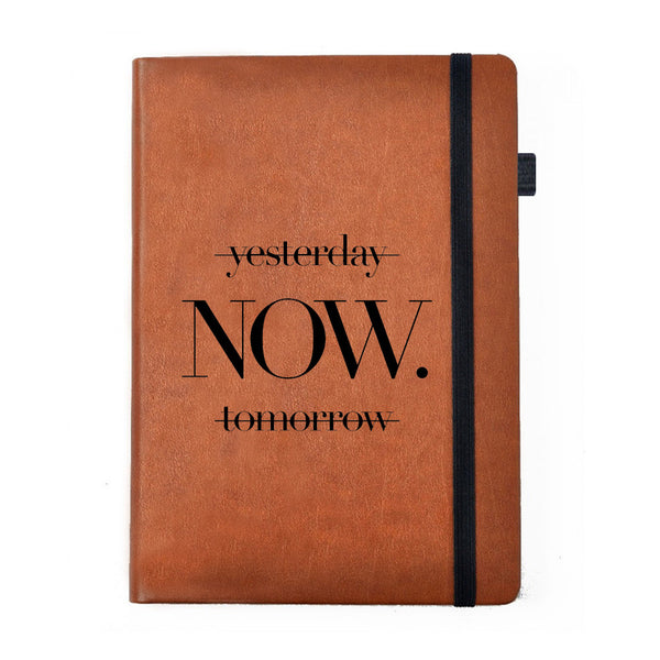 Hamee -No Procastination Tollerated- Tan Brown Leather Notebook - Hamee India