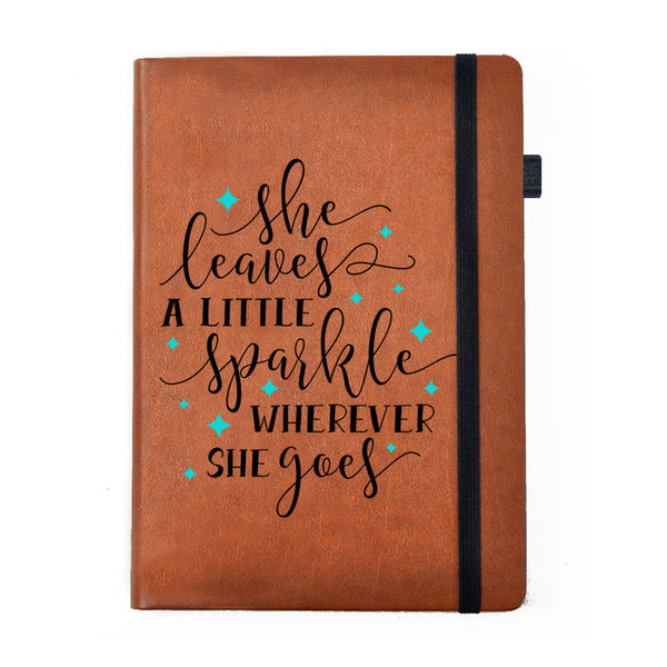 Hamee - She Sparkles - Tan Brown Leather Notebook - Hamee India